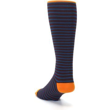 Image of Brown Teal Stripe Men's Compression Dress Socks (side-2-back-16)