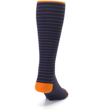 Image of Brown Teal Stripe Men's Compression Dress Socks (side-1-back-20)