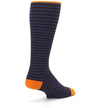 Image of Brown Teal Stripe Men's Compression Dress Socks (side-1-back-22)