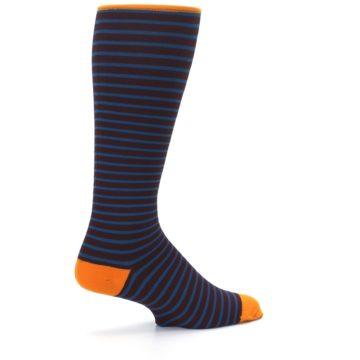 Image of Brown Teal Stripe Men's Compression Dress Socks (side-1-23)