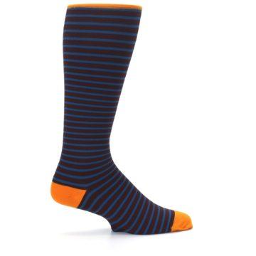 Image of Brown Teal Stripe Men's Compression Dress Socks (side-1-24)