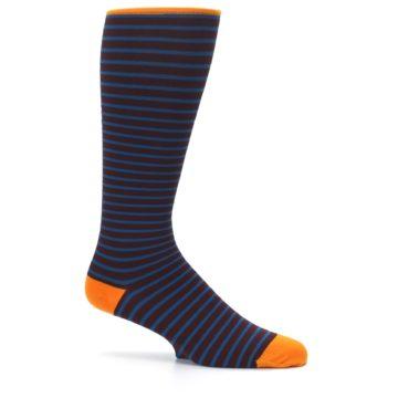 Image of Brown Teal Stripe Men's Compression Dress Socks (side-1-25)