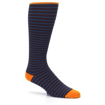 Image of Brown Teal Stripe Men's Compression Dress Socks (side-1-26)