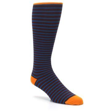 Image of Brown Teal Stripe Men's Compression Dress Socks (side-1-27)