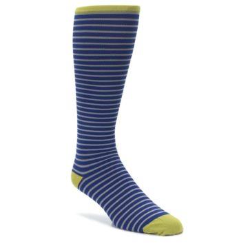 Image of Navy Gray Stripe Men's Compression Dress Socks (side-1-front-01)