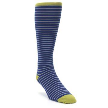 Image of Navy Gray Stripe Men's Compression Dress Socks (side-1-front-02)