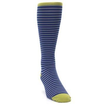 Image of Navy Gray Stripe Men's Compression Dress Socks (side-1-front-03)