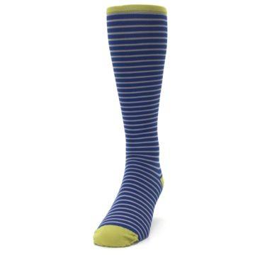 Image of Navy Gray Stripe Men's Compression Dress Socks (side-2-front-06)