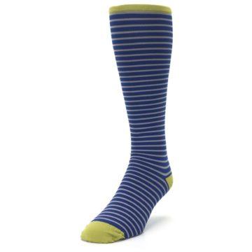 Image of Navy Gray Stripe Men's Compression Dress Socks (side-2-front-07)