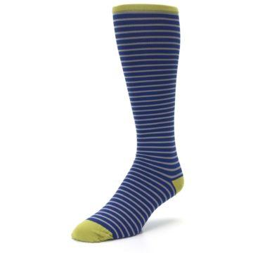 Image of Navy Gray Stripe Men's Compression Dress Socks (side-2-front-08)