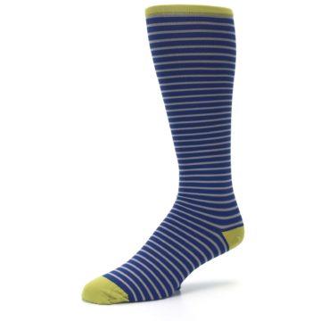 Image of Navy Gray Stripe Men's Compression Dress Socks (side-2-09)