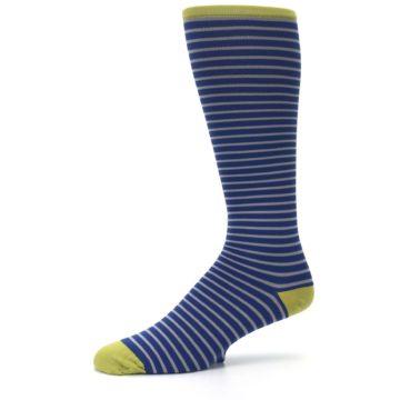 Image of Navy Gray Stripe Men's Compression Dress Socks (side-2-10)