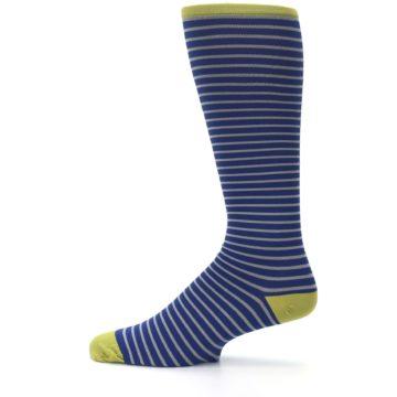 Image of Navy Gray Stripe Men's Compression Dress Socks (side-2-12)