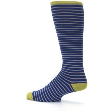 Image of Navy Gray Stripe Men's Compression Dress Socks (side-2-13)