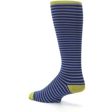 Image of Navy Gray Stripe Men's Compression Dress Socks (side-2-back-14)