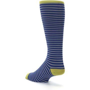 Image of Navy Gray Stripe Men's Compression Dress Socks (side-2-back-15)