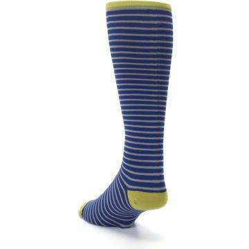 Image of Navy Gray Stripe Men's Compression Dress Socks (side-2-back-16)