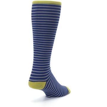 Image of Navy Gray Stripe Men's Compression Dress Socks (side-1-back-21)
