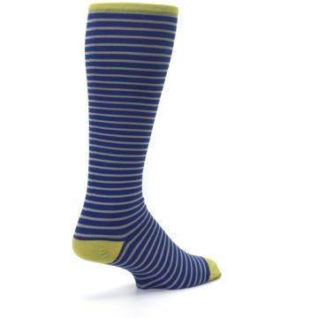 Image of Navy Gray Stripe Men's Compression Dress Socks (side-1-back-22)