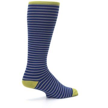 Image of Navy Gray Stripe Men's Compression Dress Socks (side-1-23)