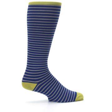 Image of Navy Gray Stripe Men's Compression Dress Socks (side-1-24)