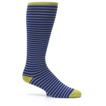 Image of Navy Gray Stripe Men's Compression Dress Socks (side-1-25)