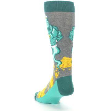 Image of Green Gray Genie Men's Dress Socks (side-2-back-16)
