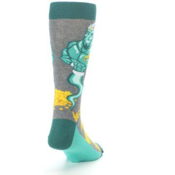 Image of Green Gray Genie Men's Dress Socks (side-1-back-20)