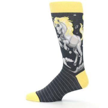 Image of Charcoal Yellow Unicorn Men's Dress Socks (side-2-12)