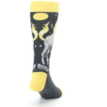 Image of Charcoal Yellow Unicorn Men's Dress Socks (side-1-back-20)