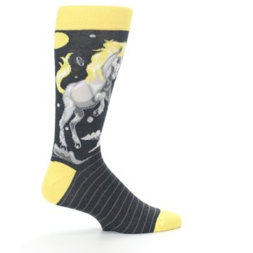 Image of Charcoal Yellow Unicorn Men's Dress Socks (side-1-24)