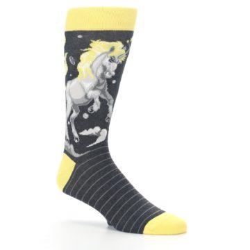 Image of Charcoal Yellow Unicorn Men's Dress Socks (side-1-26)