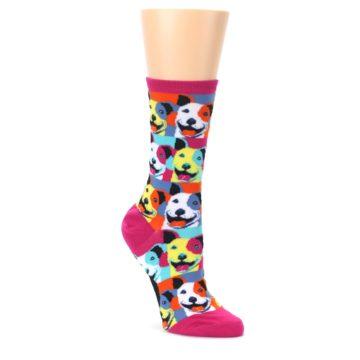 Magenta-Multi-Color-Pitbull-Pop-Art-Womens-Dress-Socks-Mod-Sock