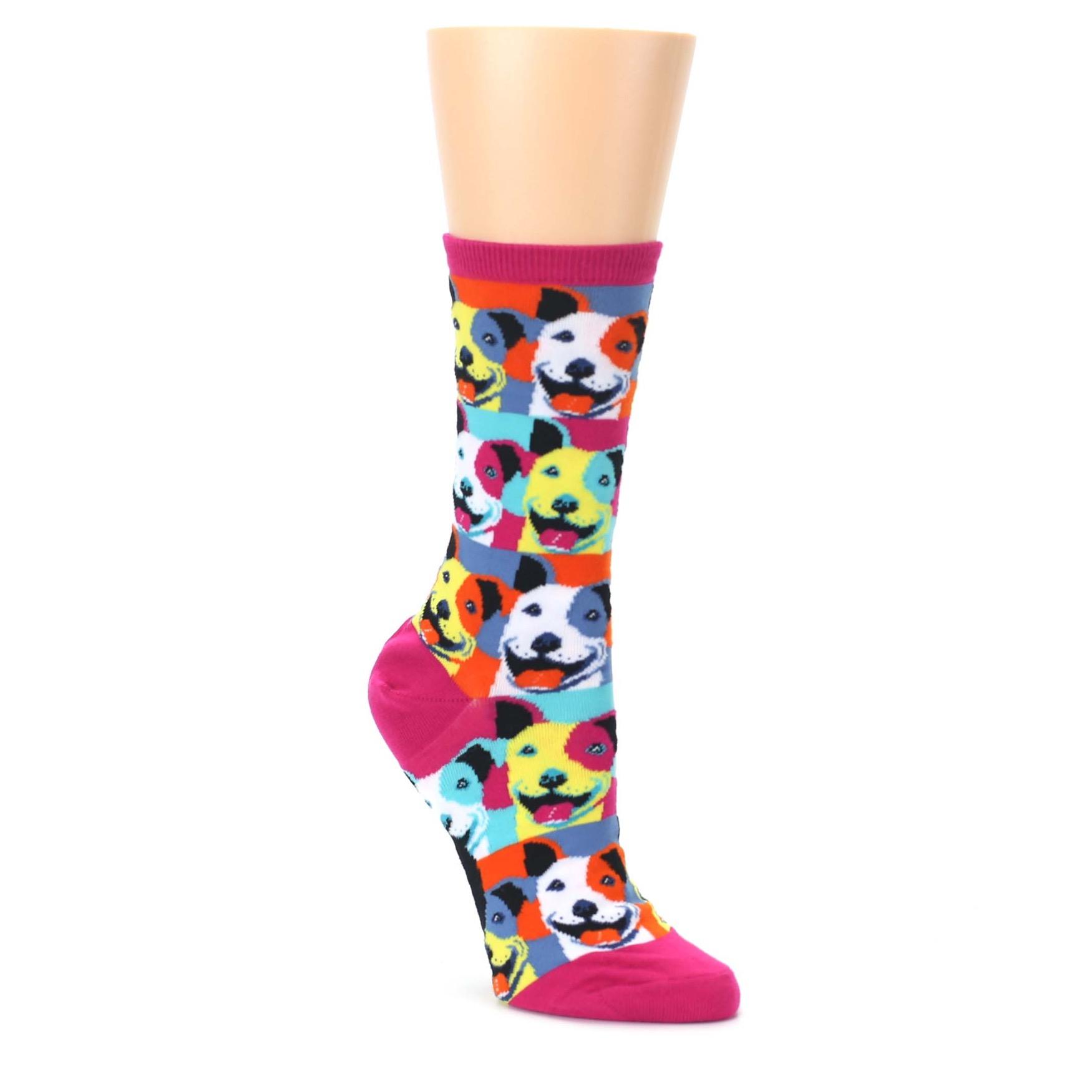 Magenta Multi Color Pitbull Pop Art Women's Dress Socks | boldSOCKS
