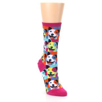 Image of Magenta Multi Color Pitbull Pop Art Women's Dress Socks (side-1-front-02)
