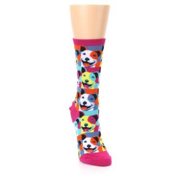 Image of Magenta Multi Color Pitbull Pop Art Women's Dress Socks (side-1-front-03)