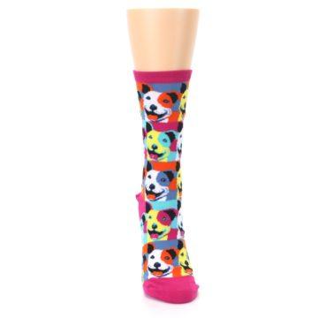 Image of Magenta Multi Color Pitbull Pop Art Women's Dress Socks (front-04)