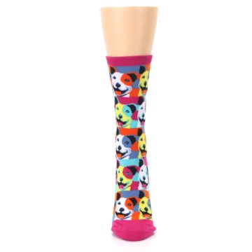 Image of Magenta Multi Color Pitbull Pop Art Women's Dress Socks (front-05)