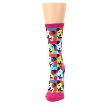 Image of Magenta Multi Color Pitbull Pop Art Women's Dress Socks (side-2-front-06)