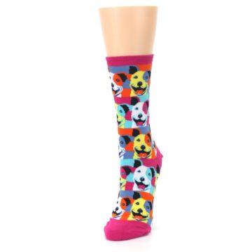 Image of Magenta Multi Color Pitbull Pop Art Women's Dress Socks (side-2-front-07)