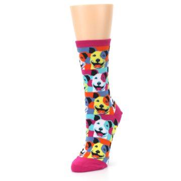 Image of Magenta Multi Color Pitbull Pop Art Women's Dress Socks (side-2-front-08)