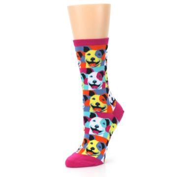 Image of Magenta Multi Color Pitbull Pop Art Women's Dress Socks (side-2-09)