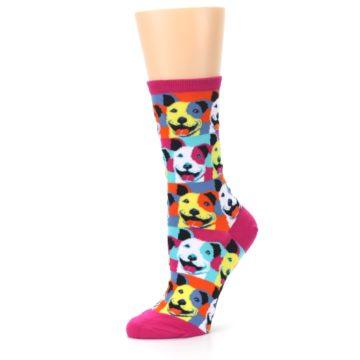 Image of Magenta Multi Color Pitbull Pop Art Women's Dress Socks (side-2-10)
