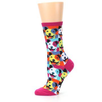Image of Magenta Multi Color Pitbull Pop Art Women's Dress Socks (side-2-11)