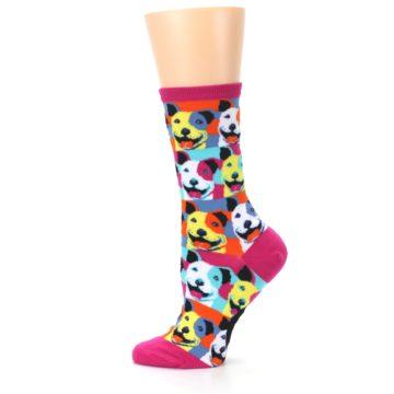 Image of Magenta Multi Color Pitbull Pop Art Women's Dress Socks (side-2-12)
