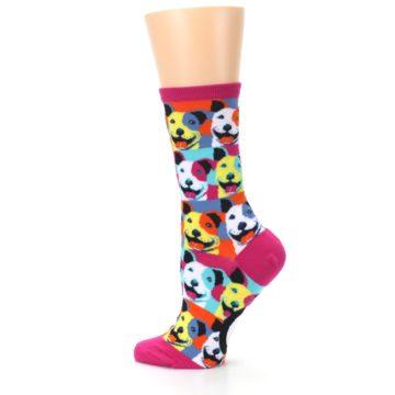 Image of Magenta Multi Color Pitbull Pop Art Women's Dress Socks (side-2-13)