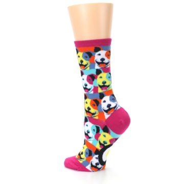 Image of Magenta Multi Color Pitbull Pop Art Women's Dress Socks (side-2-back-14)