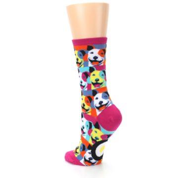 Image of Magenta Multi Color Pitbull Pop Art Women's Dress Socks (side-2-back-15)