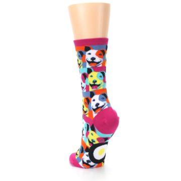Image of Magenta Multi Color Pitbull Pop Art Women's Dress Socks (side-2-back-16)