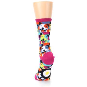 Image of Magenta Multi Color Pitbull Pop Art Women's Dress Socks (back-17)
